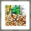 Stacked Fire Wood In Preparation For Winter 1 Framed Print