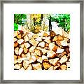 Stacked Fire Wood In Preparation For Winter 2 Framed Print