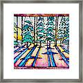Stained Glass Watercolor Winter Pine Trees Framed Print