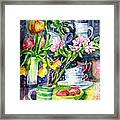 Still Life With Tulips And Apple Blossoms  Framed Print