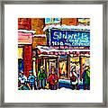 Stilwell's Candy Shop Montreal Memories Lasalle Verdun Winter City Scene Hockey Art Carole Spandau   Framed Print