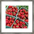 Strawberries In A Box On The Green Grass Framed Print