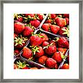 Strawberries With Green Weed In Plastic Containers  Framed Print