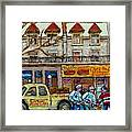 Street Hockey Pointe St Charles Winter  Hockey Scene Paul's Restaurant Quebec Art Carole Spandau     Framed Print