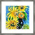 Sunflower On Black Vase Framed Print