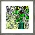 Sunflowers In A Green Vase Framed Print