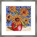 Sunflowers In Red Vase. Framed Print