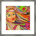 The Girl With The Flowers In Her Hair Framed Print