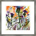Thistles And Bees Watercolor And Ink Framed Print