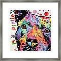 Thoughtful Pitbull Luv Is A Pittie Framed Print by Dean Russo