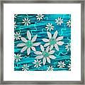 Three And Twenty Flowers On Blue Framed Print