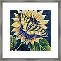 Tiger And Sunflower Framed Print