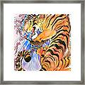 Tiger In Cherries Framed Print by Jenn Cunningham