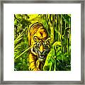 Tiger In The Forest Framed Print