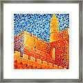 Tower Of David At Night Jerusalem Original Palette Knife Painting Framed Print