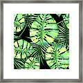 Tropics Noir, Tropical Monstera And Palm Leaves At Night Framed Print