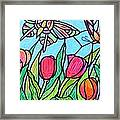 Tulips And Butterflies Framed Print