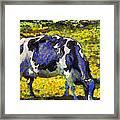Van Gogh.s Starry Blue Cow . 7d16140 Framed Print