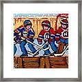Verdun Hockey Rink Paintings Edmonton Oilers Vs Hometown Habs Quebec Hockey Art Carole Spandau       Framed Print