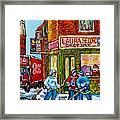 Vintage Candy Store Classic Coca Cola Truck Winter Scene Hockey Art Canadian Art Carole Spandau      Framed Print