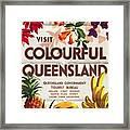 Visit Colorful Queensland - Vintage Poster Folded Framed Print