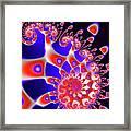 Vivid Happy Fractal Spiral Red Blue Black Framed Print