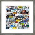 Wall Of American License Plates Framed Print