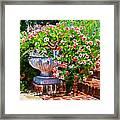 Welcome Flower Urn Steps Framed Print
