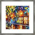 When The City Sleeps 2 - Palette Knife Oil Painting On Canvas By Leonid Afremov Framed Print