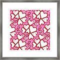 White Hearts - Valentines Pattern Framed Print