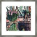 Wicker Basket And Flowers Framed Print