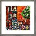 Wilensky Diner Little League Expo Kids Baseball Painting Montreal Scene Canadian Art Carole Spandau  Framed Print