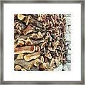Winter Woodpile Framed Print