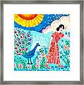 Woman With Apple And Peacock Framed Print by Sushila Burgess
