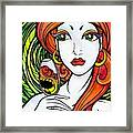 Woman With Glass Framed Print