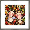 Women And Hats With Bird Framed Print