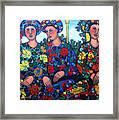 Women And Parrott Framed Print