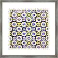 Yellow And Blue Circle Tile Framed Print
