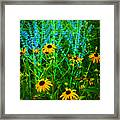 Yellow And Blue Framed Print