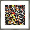 Yellow Black Red White Drawing Abstract Framed Print