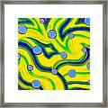 Yellow Green Blue Swirls Framed Print