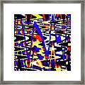 Yellow Red Blue Black And White Abstract Framed Print