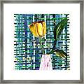 Yellow Tulip In A Pink Vase Framed Print