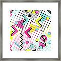 Colorful Abstract 80s Style Seamless Framed Print