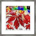 Abstract Fall Acer Stained Glass  Framed Print