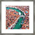 Aerial View Of Grand Canal And Rialto Bridge, Venice, Italy Framed Print