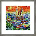 Barcelona Orange View - Sagrada Familia View From Park Guell - Abstract Palette Knife Oil Painting Framed Print