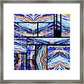 Blue Agate Mosaic Watercolor Collage Framed Print