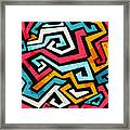 Bright Graffiti Seamless Pattern With Framed Print