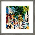 Colorful Cafe Painting Irish Pubs Bistros Bars Diners Delis Downtown C Spandau Montreal Eats         Framed Print